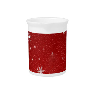 White Snowflakes with Red Background Pitchers