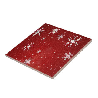 White Snowflakes with Red Background Tile