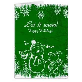 White Snowman Snowflakes And Dog Green Background