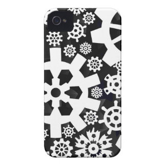 White Snowy Gears iPhone 4 Case