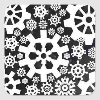 White Snowy Gears Square Sticker