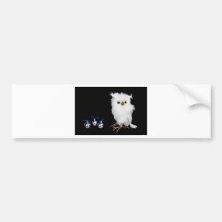White snowy owl figurine with silver christmas bumper sticker