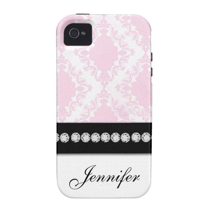 White Soft Pink Damask Pattern iPhone 4 Case