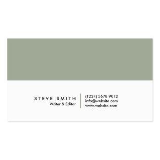 White soft simple minimal green elegant visit card business card