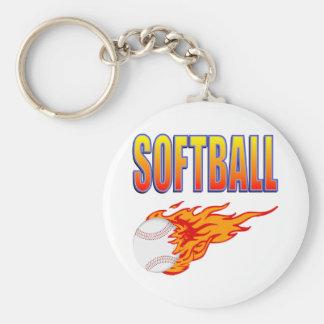 White Softball Flame Ball Basic Round Button Keychain