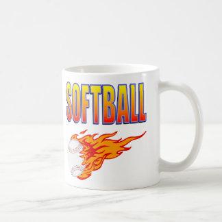 White Softball Flame Ball Coffee Mugs