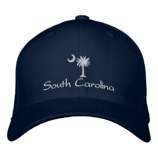 White South Carolina Palmetto Moon Embroidered Hat