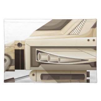 White spaceship on white background cloth placemat