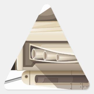 White spaceship on white background triangle sticker