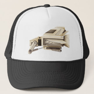 White spaceship on white background trucker hat