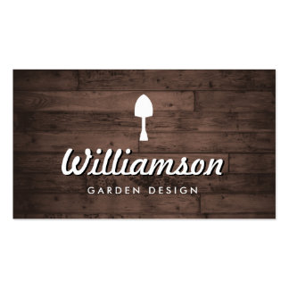 White Spade Rustic Wood Gardening Services Business Card