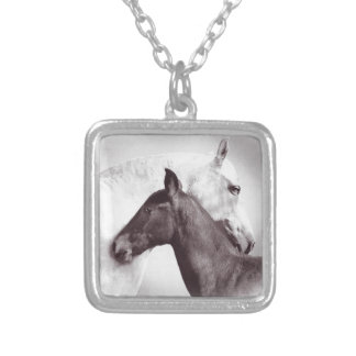 White Spanish Andalusian mare with black foal Pendant