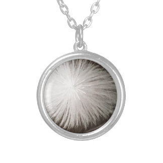 White Spark Round Pendant Necklace