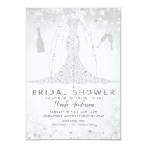 White Sparkle Diamond Wedding Dress Bridal Shower Invitation
