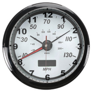 """White Speedometer"" design wall clocks Aquavista Clocks"