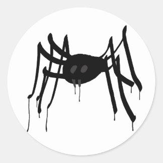 white spider classic round sticker