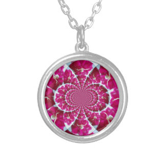White Spider on a Beautiful Red Rose Round Pendant Necklace