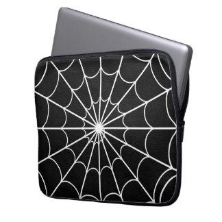 White Spider's Web Black Neoprene Laptop Sleeve
