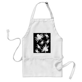 White Spiders With Black Background Adult Apron