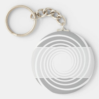 White spiral on light gray. keychain