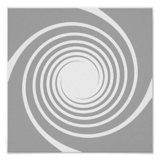White spiral on light gray. posters