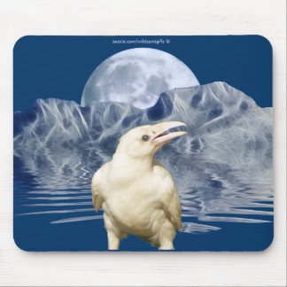 White Spirit Raven & Moon Wildlife Art Mousepad
