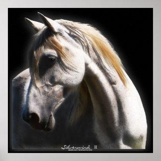 White Spirit Stallion Equine Art Poster