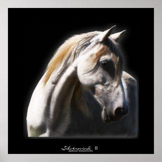 White Spirit Stallion Equine Art Print wide border