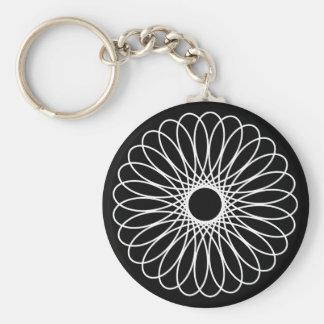 White Spirograph Basic Round Button Keychain