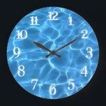 "White Splash Numbers Blue Swimming Pool Large Clock<br><div class=""desc"">You can change the color of the wall clock numbers from white to something that matches your photo if needed. Photo of light playing on the bottom of a swimming pool digitally tinted bright blue.</div>"