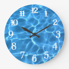 White Splash Numbers Blue Swimming Pool Large Clock at Zazzle