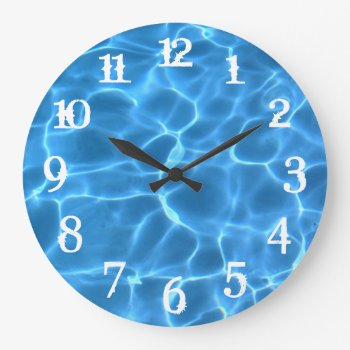 White Splash Numbers Blue Swimming Pool Large Clock by annaleeblysse at Zazzle