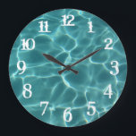 "White Splash Numbers Swimming Pool Wall Clock<br><div class=""desc"">You can change the color of the wall clock numbers from white to something that matches your photo if needed. Photo of light playing on the bottom of a swimming pool.</div>"