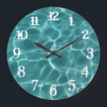 """White Splash Numbers Swimming Pool Wall Clock<br><div class=""""desc"""">You can change the color of the wall clock numbers from white to something that matches your photo if needed. Photo of light playing on the bottom of a swimming pool.</div>"""