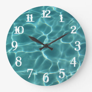 White Splash Numbers Swimming Pool Wall Clock