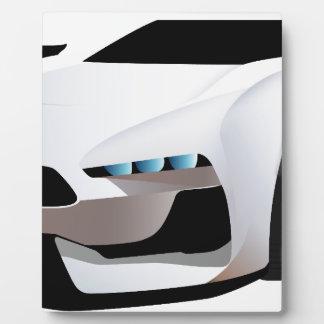 White sport car png plaque