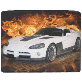 White sports car racing through flames. iPad smart cover