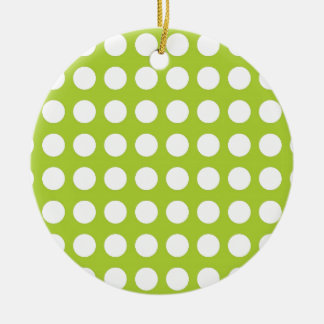 White Spots and Dots on Lime Green Ornament