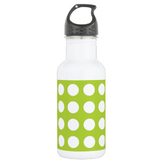 White Spots and Dots on Lime Green 18oz Water Bottle