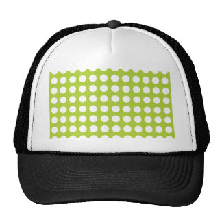 White Spots and Dots on Lime Green Trucker Hat