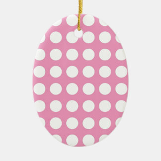 White Spots and Dots on Pink Christmas Tree Ornaments