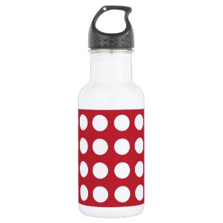 White Spots On Dark Red 18oz Water Bottle