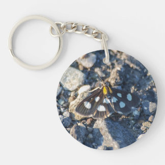 White Spotted Sable Moth Keychain