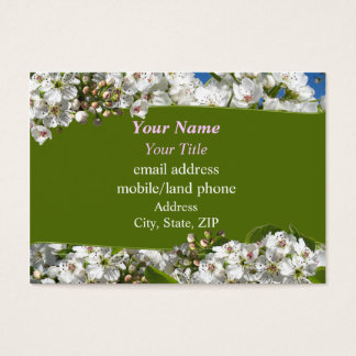 White Spring Blossoms Business Card