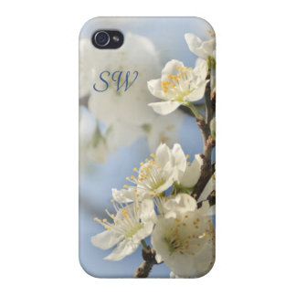 White spring blossoms cases for iPhone 4