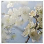 White spring blossoms cloth napkin