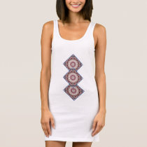 White spring blossoms D.3 b, mandala style Sleeveless Dress