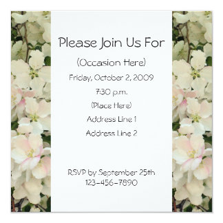 White Spring Blossoms Square Floral Invitation