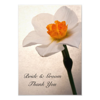 White Spring Daffodil Wedding Flat Thank You Notes Card