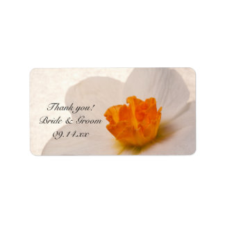 White Spring Daffodil Wedding Thank You Favor Tags Label